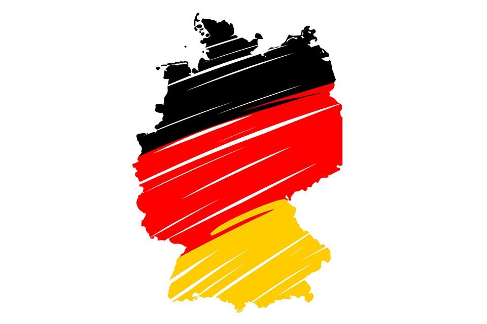 Deutschlandkarte in Schwarz Rot Gold